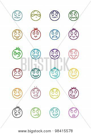 24 Smiles Icons Set 5