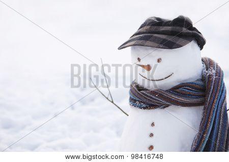 Happy snowman with cap