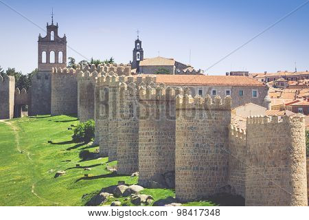 Avila. Detailed View Of Avila Walls, Also Known As Murallas De Avila. Ávila, Castilla Y Leon, Spain