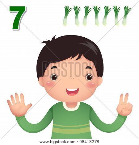 Learn Number And Counting With Kid's Hand Showing The Number Seven