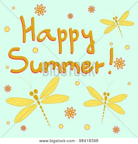 Happy Summer Vector Card With Dragonflies
