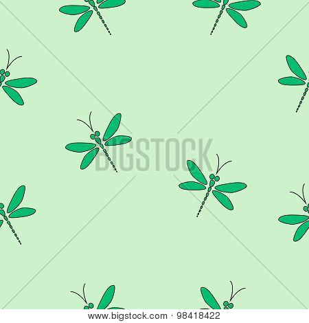 Green vector seamless pattern with dragonflies