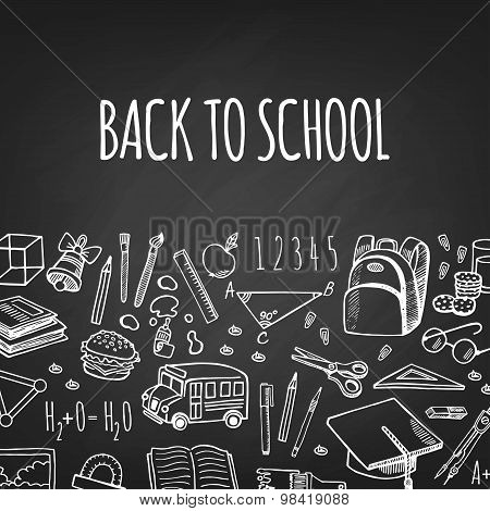 School Tools Sketch Icons On Chalk Board Vector Horizontal Banner.