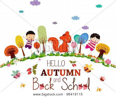 enjoy autumn and back to school. autumn banner background
