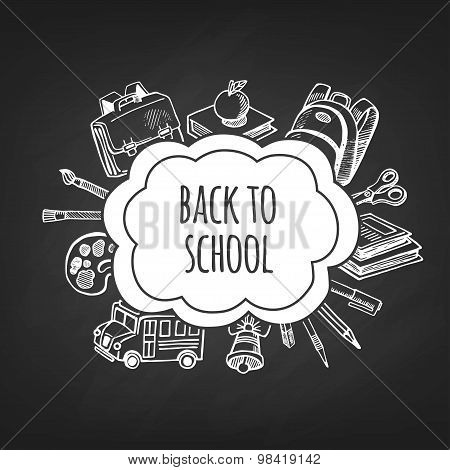 Back To School Tools Sketch Frame Vector Design Illustration.
