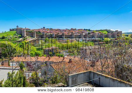Panoramic View Of The Historic City Of Avila, Castilla Y Leon, Spain