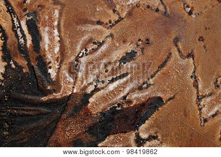Abstract background - the soot and rust on a metal plate