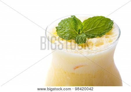 Indian Mango Lassie With Mint For Garnish