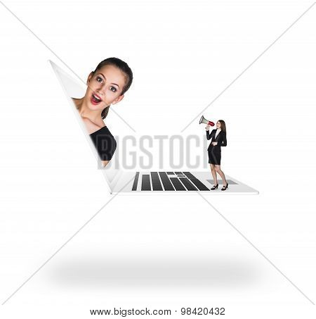 Businesswoman in laptop