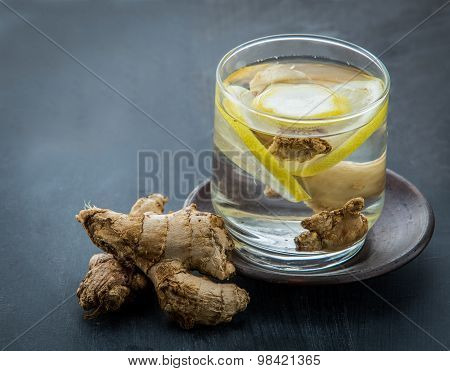 Infused Water Mix Of Ginger And Lemon