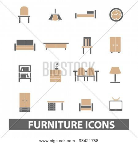 furniture, interior flat icons, signs, illustration concept, vector