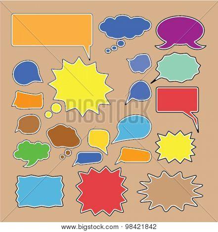 color chat, speech comics bubbles icons set, vector