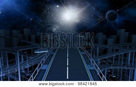 3D Render of futuristic freeway in the city with space sky