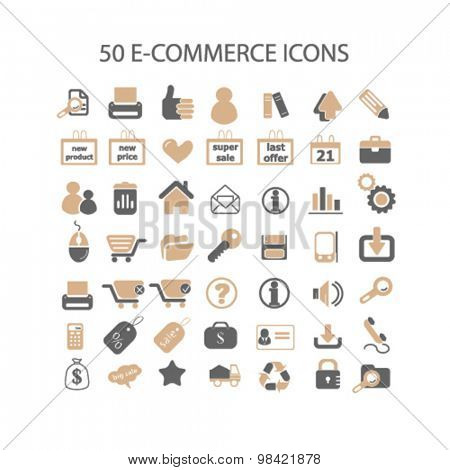 e-commerce, shopping, shop, store flat icons, signs, illustration concept, vector