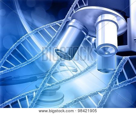 Abstract medical background with DNA strands, microscope and stethoscope