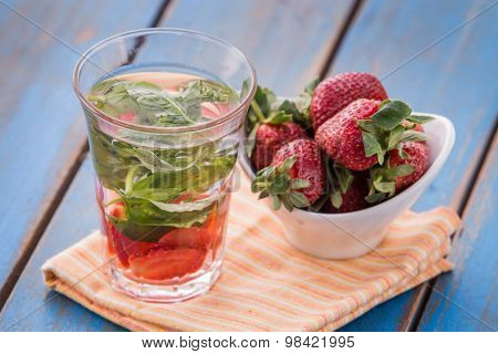 Infused Water Mix Of Strawberry And Mint Leaf