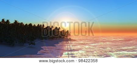 3D render of a palm tree island at sunset in widescreen