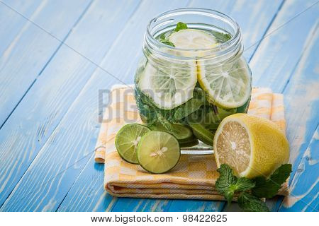 Infused Water Mix Of Lime, Lemon And Mint