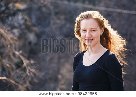 Outdoors portrait of beautiful woman