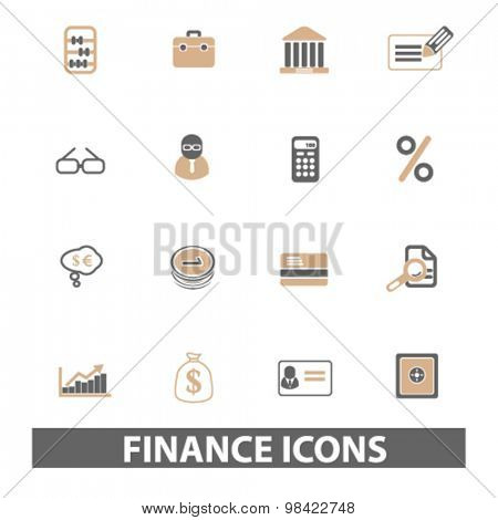 finance, bank, money flat icons, signs, illustration concept, vector