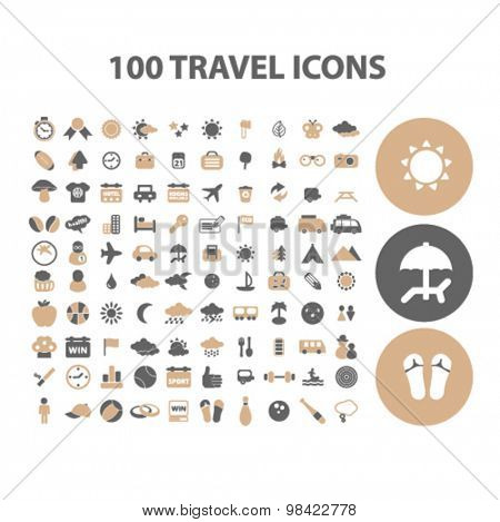 travel, tourism, vacation flat icons, signs, illustration concept, vector