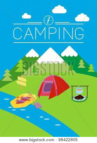 Camping flat illustration