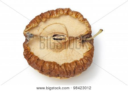 Rotten apple isolated on white background