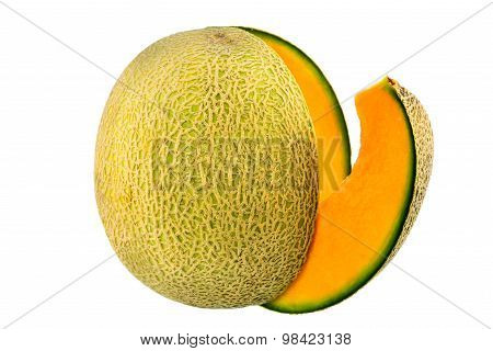 Cantaloupe melon on white background, texture