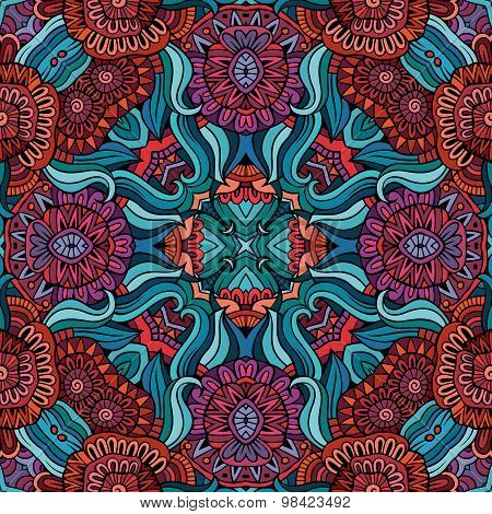 Abstract vector decorative ethnic floral seamless pattern