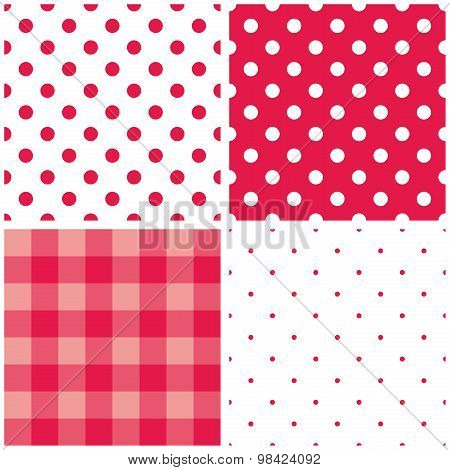 Tile vector baby pink pattern set with polka dots and checkered plaid