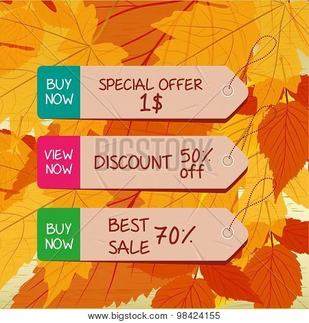 set of bookmarks sticker tags autumn leaves