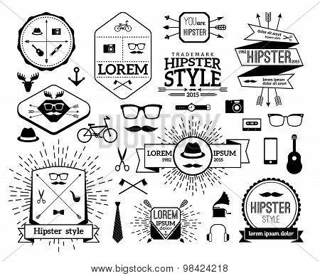 Monochrome hipster modern line logo set