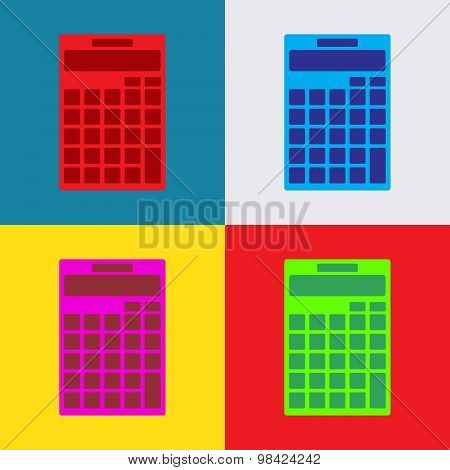 Calculator Icon Isolated On Colorful Background, Illustration, Vector