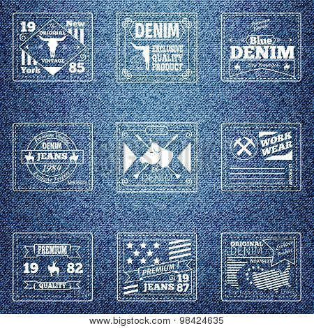 Original authentic denim jeans labels