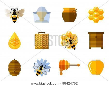Vector honey and bee icons in flat set