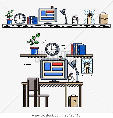 Creative designer workspace in thin line flat style