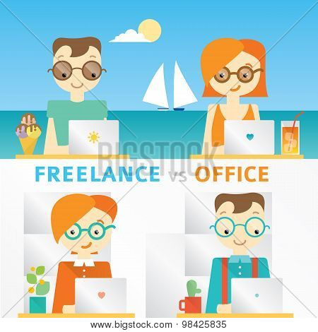 Illustration about freelancers working on the seaside and teamwork in office, comparison