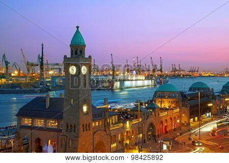 Hamburg harbour after sunset, Germany