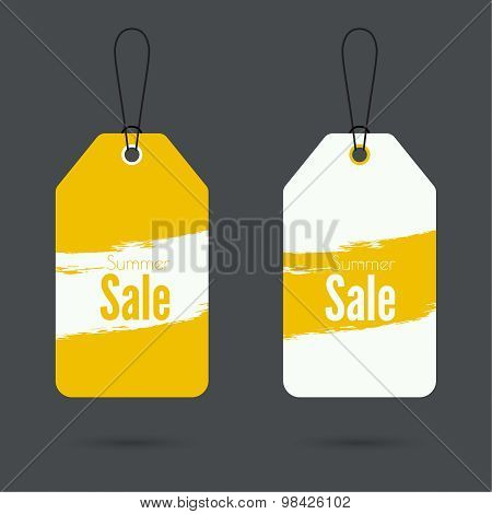 Set price tag with ribbons and labels.