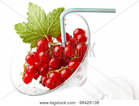 Juicy Red Currant With Cocktail Straw In Glass