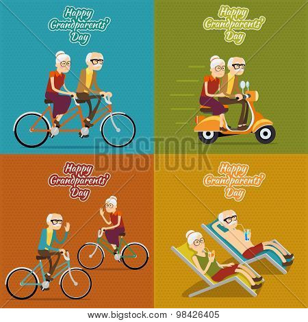 Happy grandparents day vector background, poster or post card