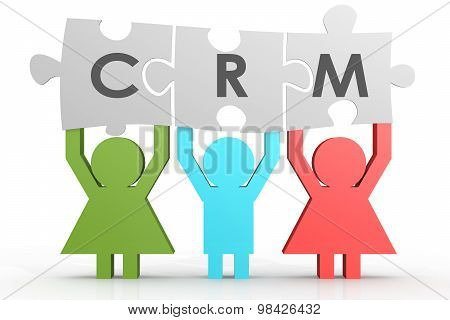 Crm - Customer Relationship Management Puzzle In A Line