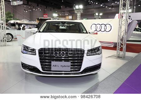 Bangkok - August 4: Audi A8 L Hybrid Car On Display At Big Motor Sale On August 4, 2015 In Bangkok,