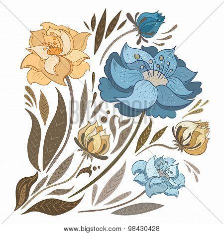 Vintage Fall Flowers Set
