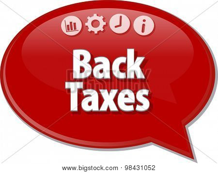Speech bubble dialog illustration of business term saying Back Taxes