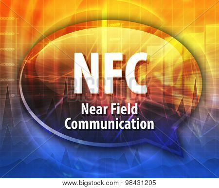 Speech bubble illustration of information technology acronym abbreviation term definition NFC Near Field Communication