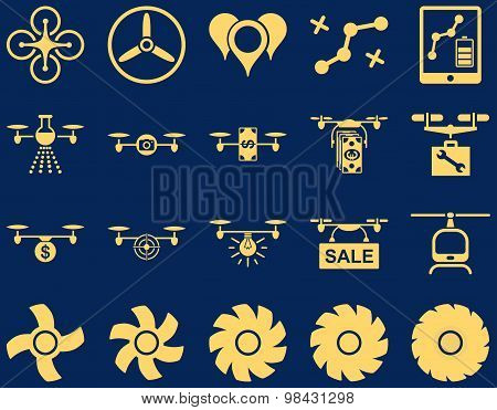 Air Drone And Quadcopter Tool Flat Icons