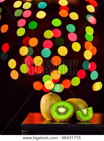 Still Life, Kiwi Fruit On Table With Bokeh Background, Lowkey