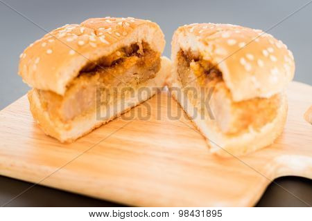 Delicious Deep Fried Pork Burger