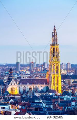 Antwerp cityscape with cathedral of Our Lady, Antwerpen Belgium at dusk